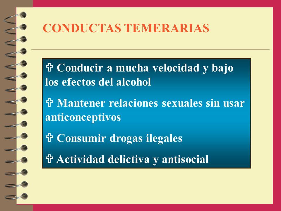 CONDUCTAS TEMERARIAS Conducir a mucha velocidad y bajo los efectos del alcohol Mantener relaciones sexuales sin usar anticonceptivos Consumir drogas i