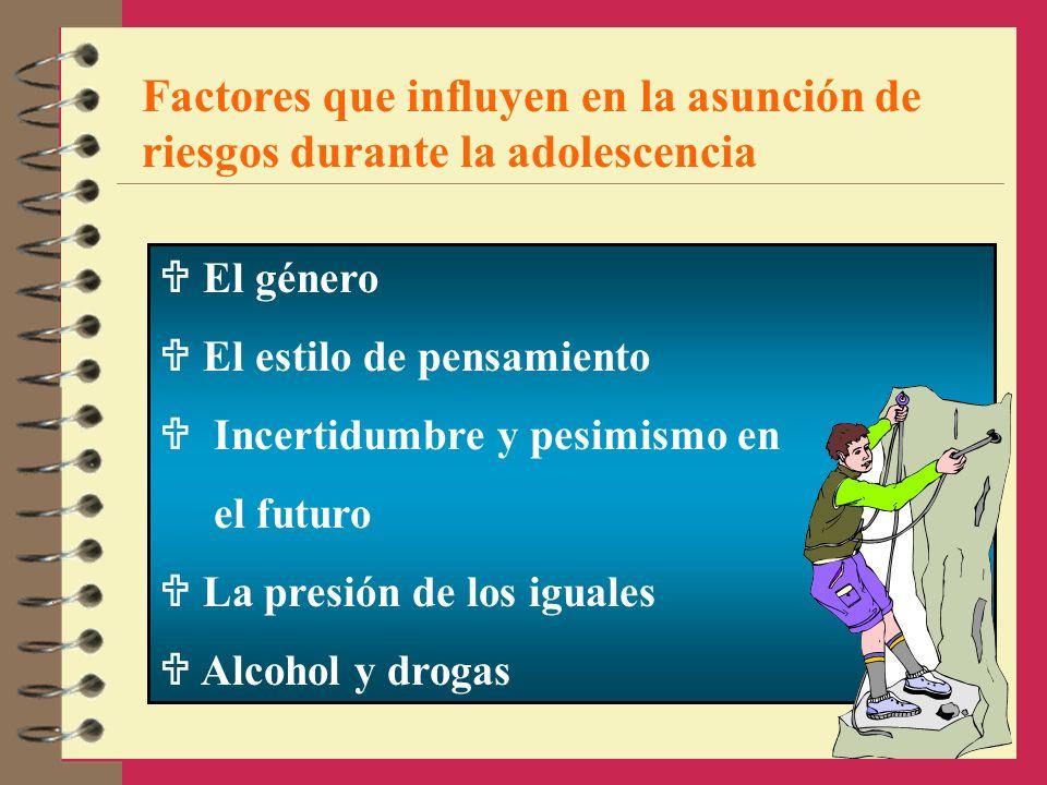 Factores que influyen en la asunción de riesgos durante la adolescencia El género El estilo de pensamiento Incertidumbre y pesimismo en el futuro La p