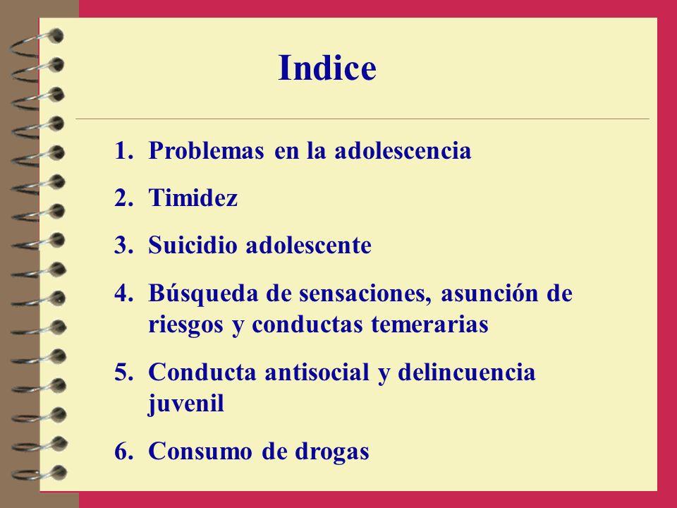 Indice 1.Problemas en la adolescencia 2.Timidez 3.Suicidio adolescente 4.Búsqueda de sensaciones, asunción de riesgos y conductas temerarias 5.Conduct