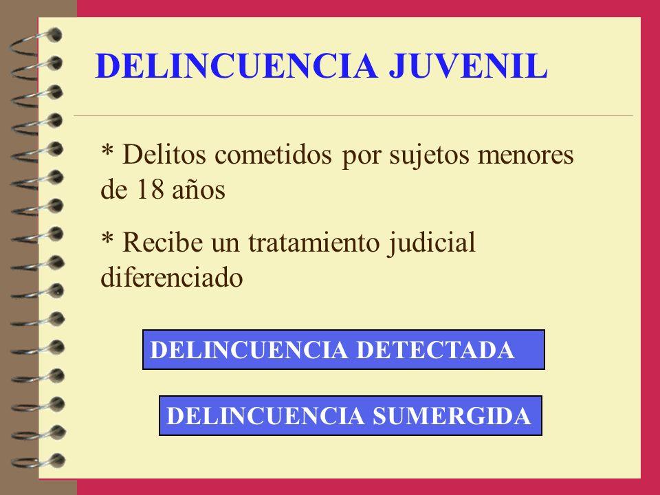 DELINCUENCIA JUVENIL * Delitos cometidos por sujetos menores de 18 años * Recibe un tratamiento judicial diferenciado DELINCUENCIA DETECTADA DELINCUEN