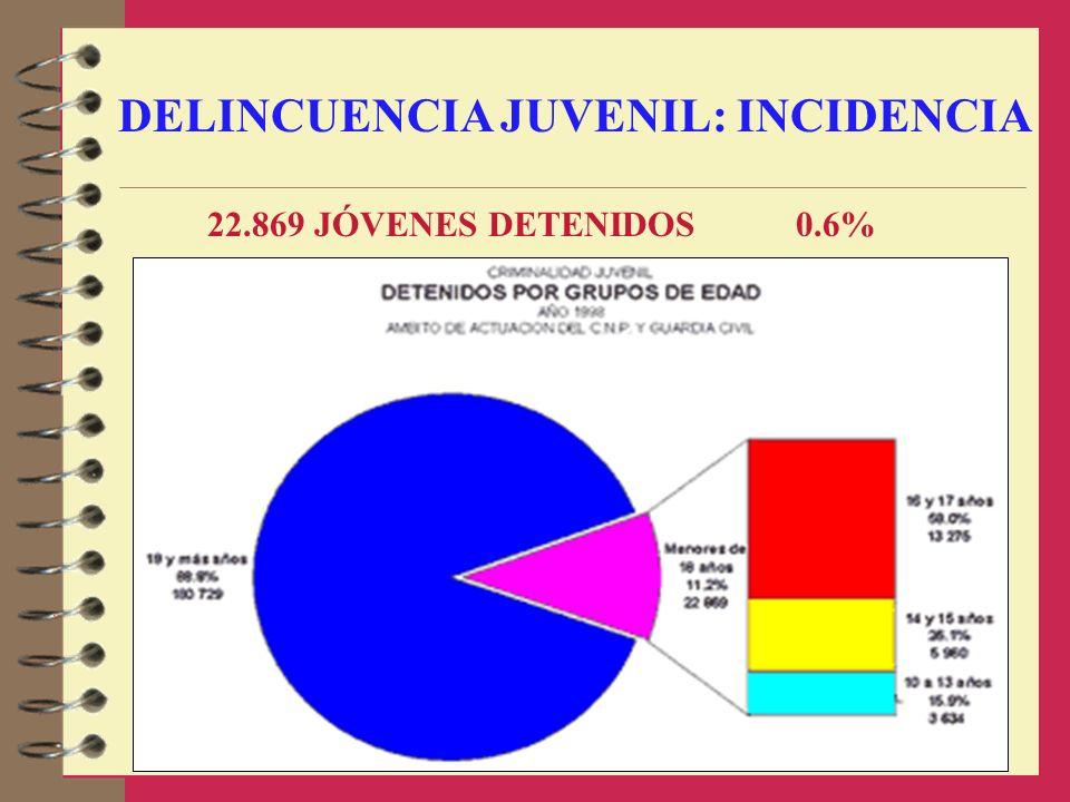 DELINCUENCIA JUVENIL: INCIDENCIA 22.869 JÓVENES DETENIDOS 0.6%