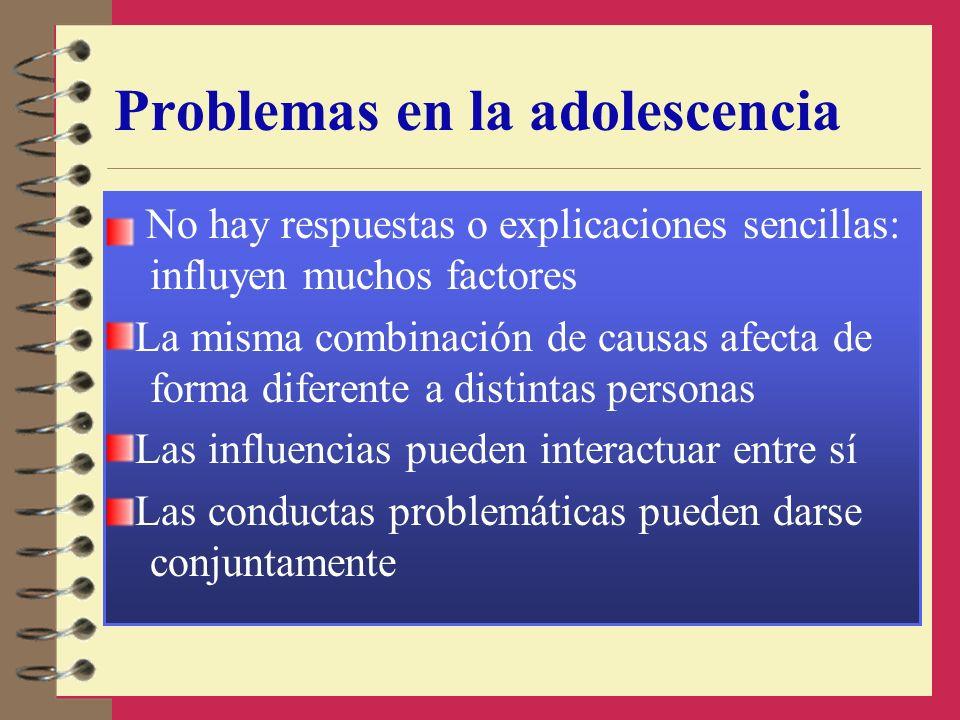 Problemas en la adolescencia No hay respuestas o explicaciones sencillas: influyen muchos factores La misma combinación de causas afecta de forma dife