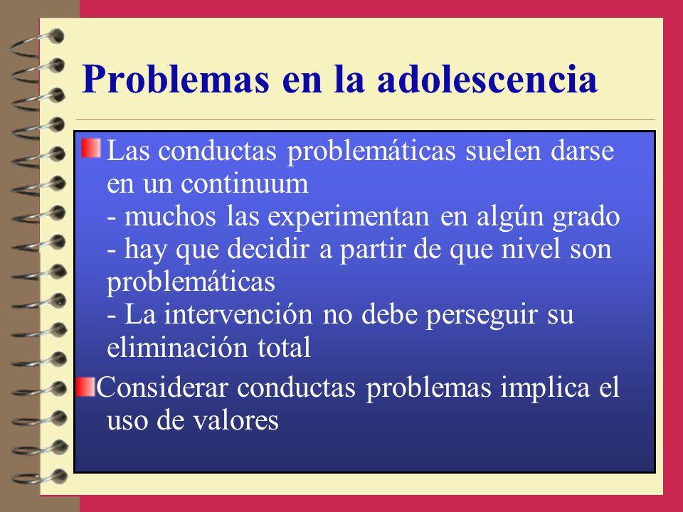 Problemas en la adolescencia Las conductas problemáticas suelen darse en un continuum - muchos las experimentan en algún grado - hay que decidir a par