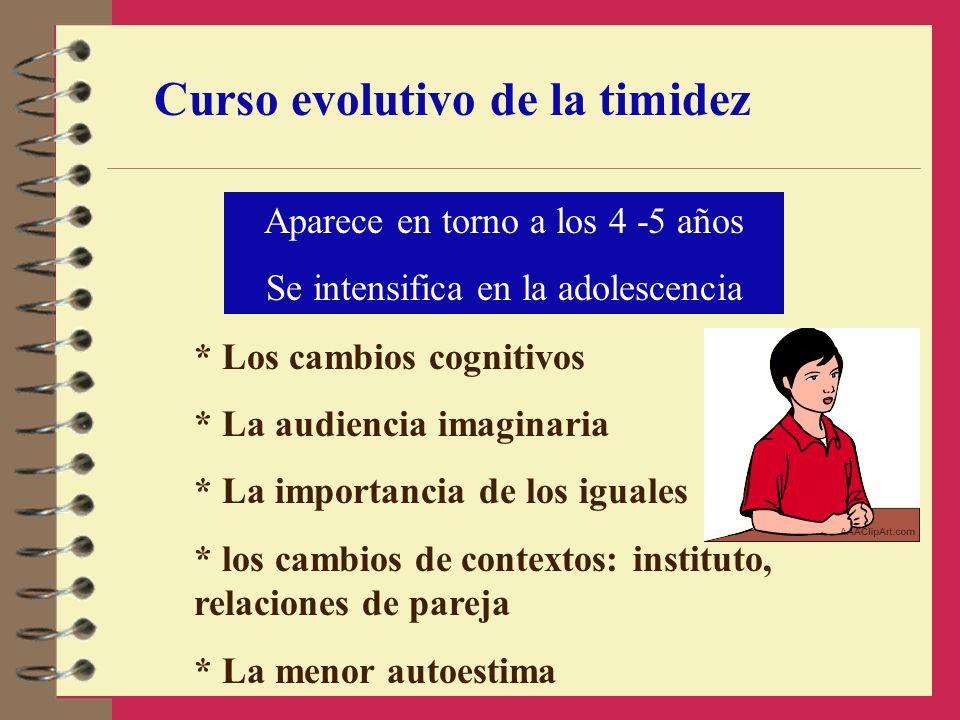 Curso evolutivo de la timidez Aparece en torno a los 4 -5 años Se intensifica en la adolescencia * Los cambios cognitivos * La audiencia imaginaria *