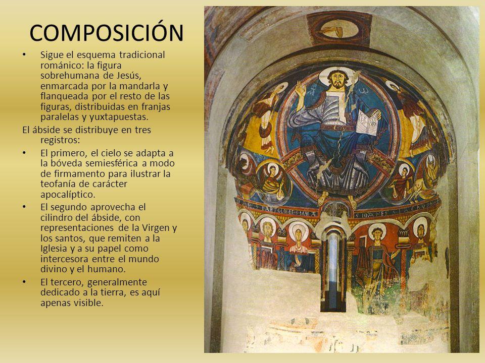 COMPOSICIÓN Sigue el esquema tradicional románico: la figura sobrehumana de Jesús, enmarcada por la mandarla y flanqueada por el resto de las figuras,