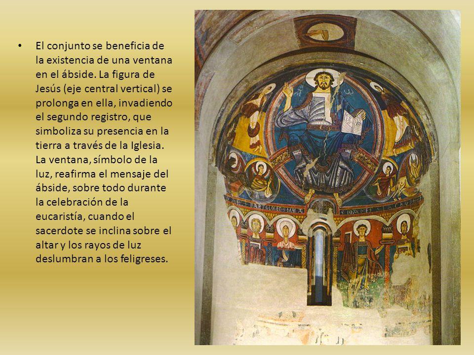 El conjunto se beneficia de la existencia de una ventana en el ábside. La figura de Jesús (eje central vertical) se prolonga en ella, invadiendo el se