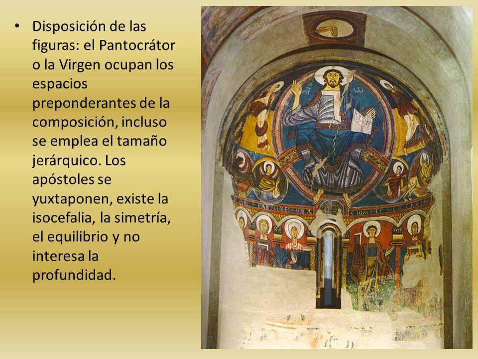 Disposición de las figuras: el Pantocrátor o la Virgen ocupan los espacios preponderantes de la composición, incluso se emplea el tamaño jerárquico. L