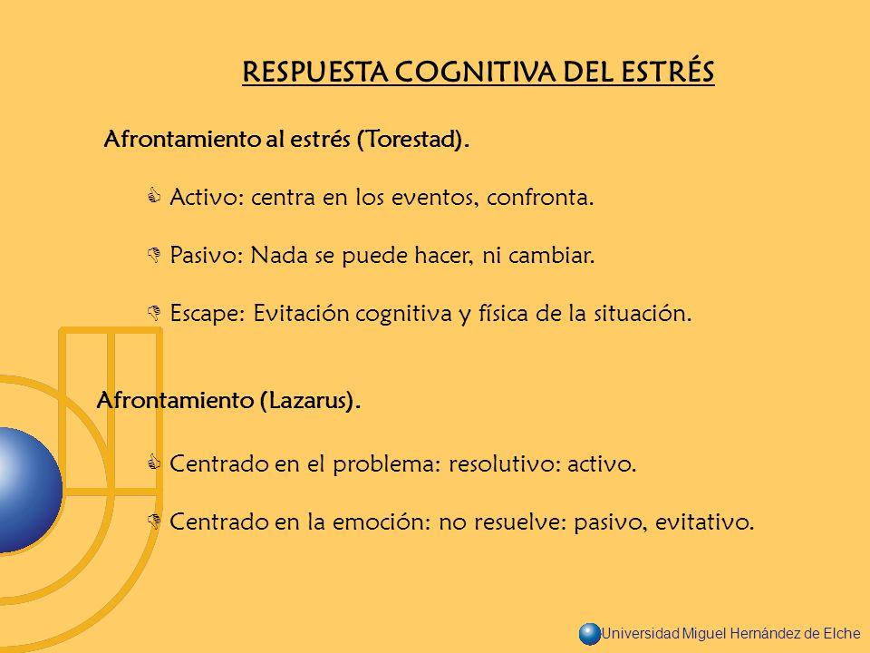 Universidad Miguel Hernández de Elche RESPUESTA COGNITIVA DEL ESTRÉS Afrontamiento al estrés (Torestad). Activo: centra en los eventos, confronta. Pas