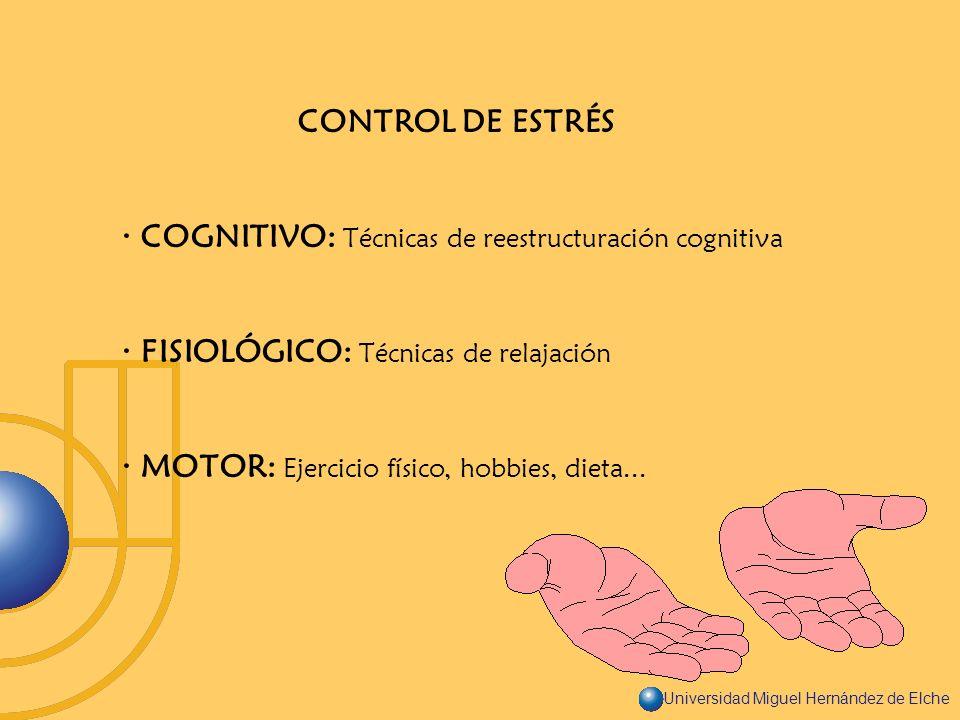 Universidad Miguel Hernández de Elche CONTROL DE ESTRÉS · COGNITIVO: Técnicas de reestructuración cognitiva · FISIOLÓGICO: Técnicas de relajación · MO