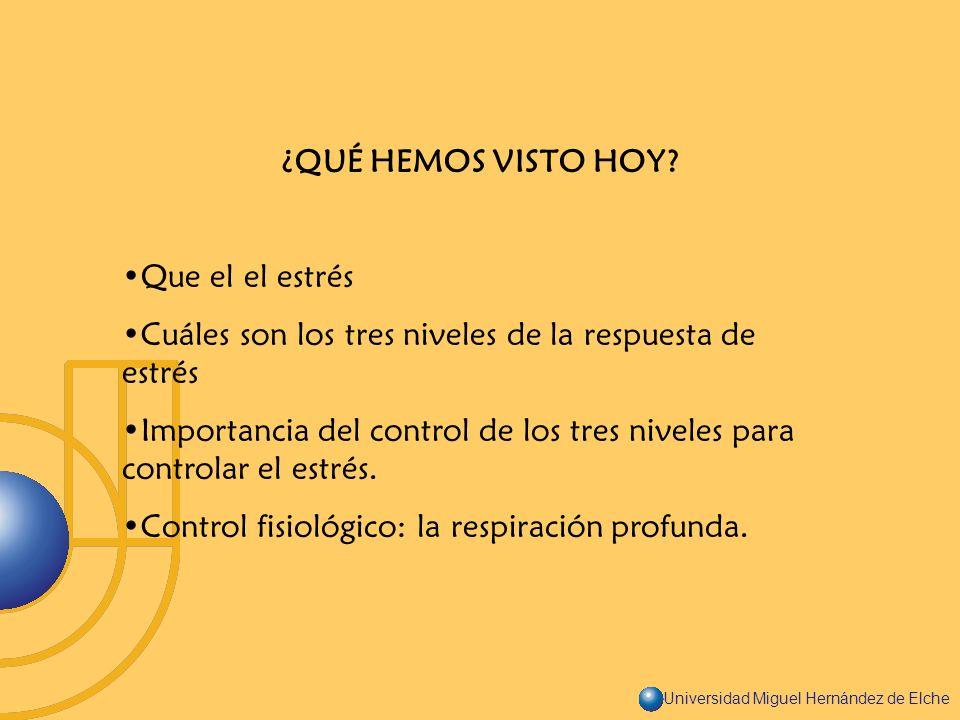 Universidad Miguel Hernández de Elche ¿QUÉ HEMOS VISTO HOY? Que el el estrés Cuáles son los tres niveles de la respuesta de estrés Importancia del con