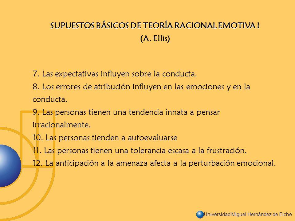 Universidad Miguel Hernández de Elche SUPUESTOS BÁSICOS DE TEORÍA RACIONAL EMOTIVA I (A. Ellis) 7. Las expectativas influyen sobre la conducta. 8. Los