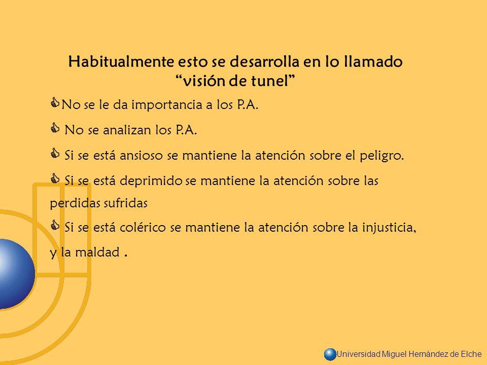 Universidad Miguel Hernández de Elche Habitualmente esto se desarrolla en lo llamado visión de tunel No se le da importancia a los P.A. No se analizan