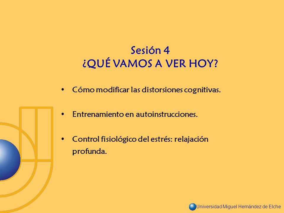 Universidad Miguel Hernández de Elche Cómo modificar las distorsiones cognitivas. Entrenamiento en autoinstrucciones. Control fisiológico del estrés: