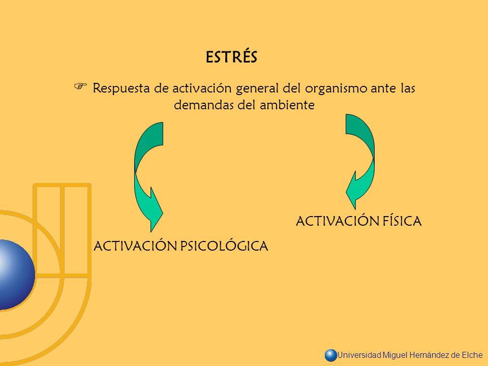Universidad Miguel Hernández de Elche ESTRÉS Respuesta de activación general del organismo ante las demandas del ambiente ACTIVACIÓN FÍSICA ACTIVACIÓN