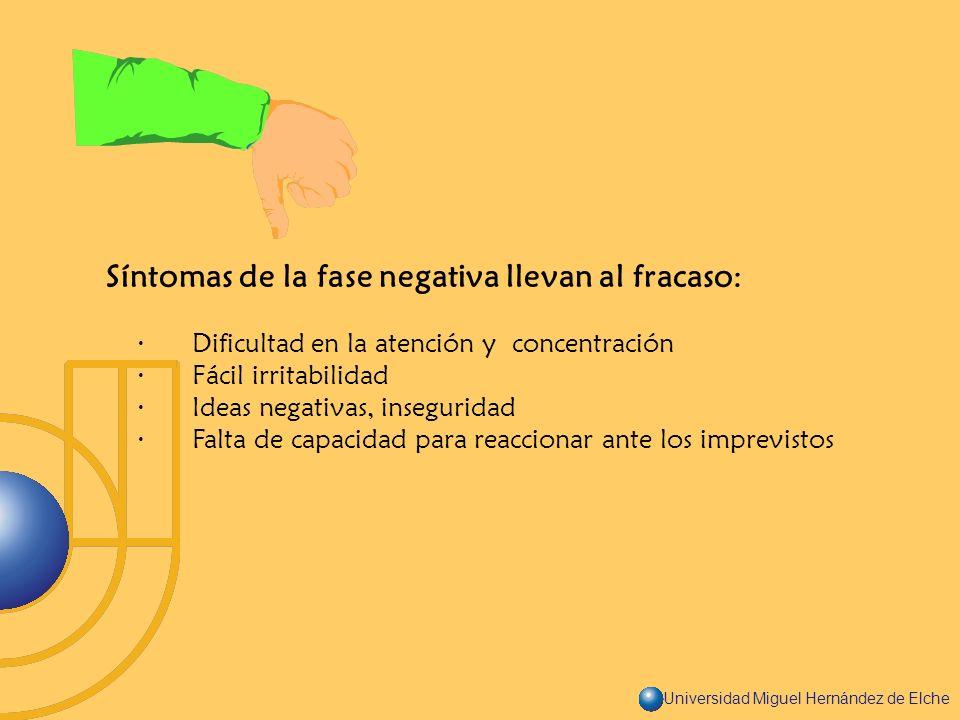 Universidad Miguel Hernández de Elche Síntomas de la fase negativa llevan al fracaso: · Dificultad en la atención y concentración · Fácil irritabilida