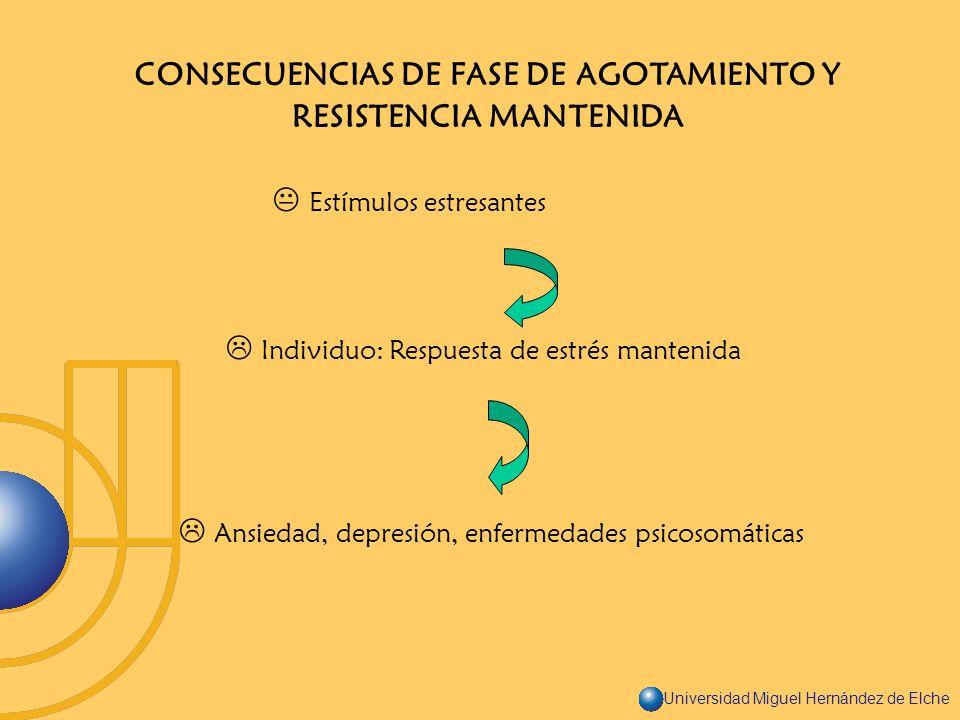 Universidad Miguel Hernández de Elche CONSECUENCIAS DE FASE DE AGOTAMIENTO Y RESISTENCIA MANTENIDA Estímulos estresantes Individuo: Respuesta de estré