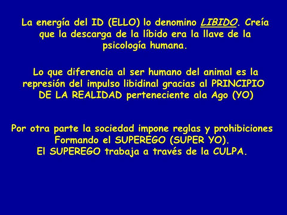 La energía del ID (ELLO) lo denomino LIBIDO. Creía que la descarga de la líbido era la llave de la psicología humana. Lo que diferencia al ser humano