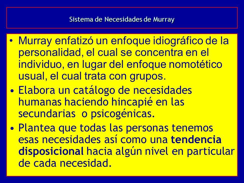 Sistema de Necesidades de Murray Murray enfatizó un enfoque idiográfico de la personalidad, el cual se concentra en el individuo, en lugar del enfoque