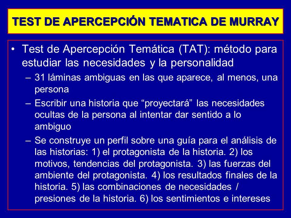 Test de Apercepción Temática (TAT): método para estudiar las necesidades y la personalidad –31 láminas ambiguas en las que aparece, al menos, una pers