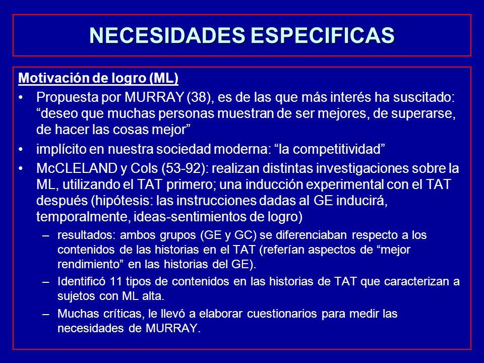 NECESIDADES ESPECIFICAS Motivación de logro (ML) Propuesta por MURRAY (38), es de las que más interés ha suscitado: deseo que muchas personas muestran
