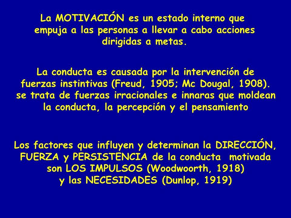 La MOTIVACIÓN es un estado interno que empuja a las personas a llevar a cabo acciones dirigidas a metas. La conducta es causada por la intervención de