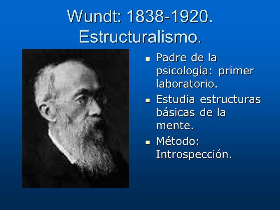 Wundt: 1838-1920. Estructuralismo. Padre de la psicología: primer laboratorio. Padre de la psicología: primer laboratorio. Estudia estructuras básicas