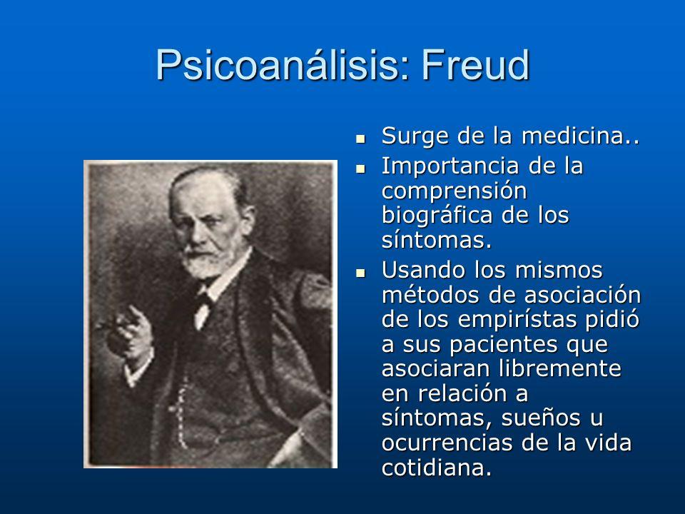 Psicoanálisis: Freud Surge de la medicina.. Surge de la medicina.. Importancia de la comprensión biográfica de los síntomas. Importancia de la compren