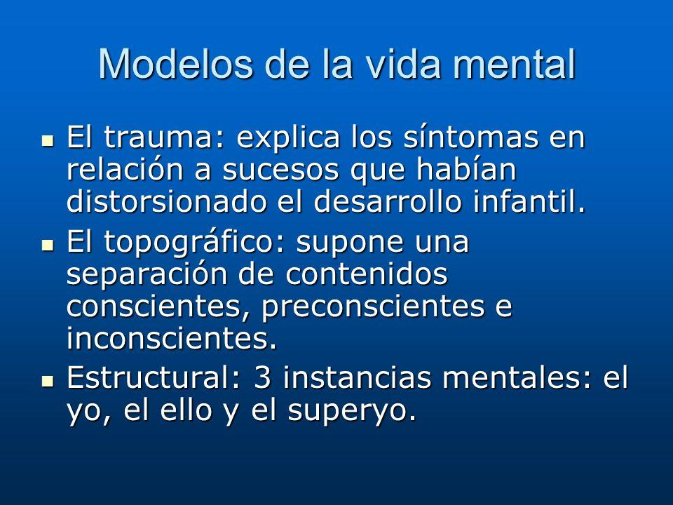 Modelos de la vida mental El trauma: explica los síntomas en relación a sucesos que habían distorsionado el desarrollo infantil. El trauma: explica lo