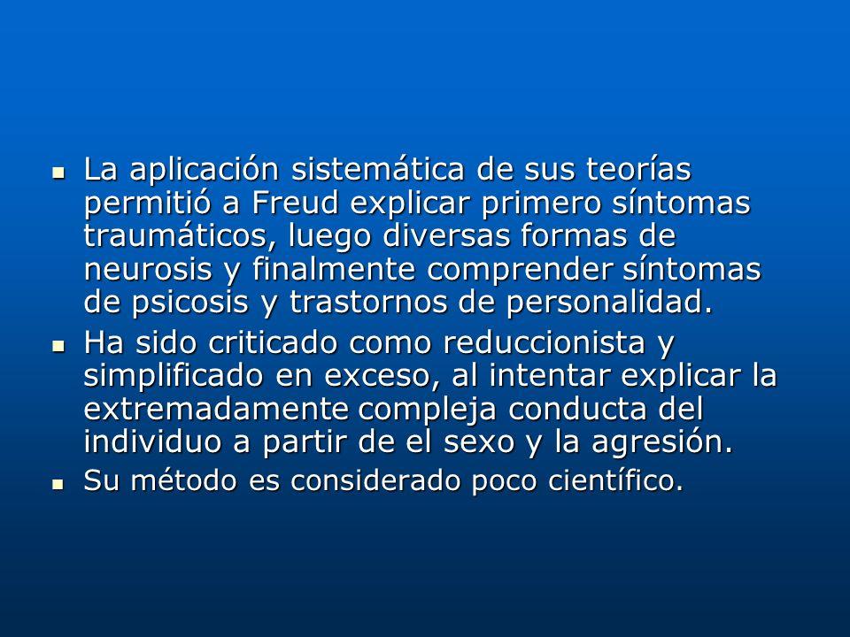La aplicación sistemática de sus teorías permitió a Freud explicar primero síntomas traumáticos, luego diversas formas de neurosis y finalmente compre