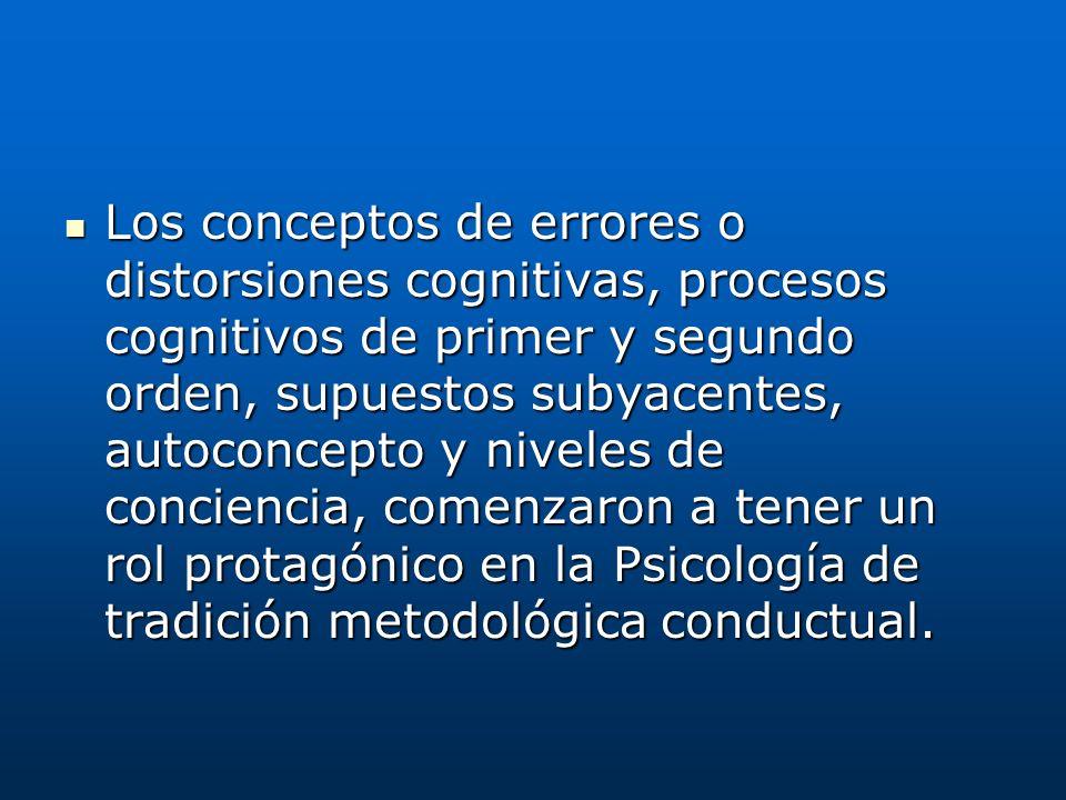 Los conceptos de errores o distorsiones cognitivas, procesos cognitivos de primer y segundo orden, supuestos subyacentes, autoconcepto y niveles de co