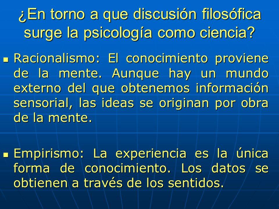 ¿En torno a que discusión filosófica surge la psicología como ciencia? Racionalismo: El conocimiento proviene de la mente. Aunque hay un mundo externo