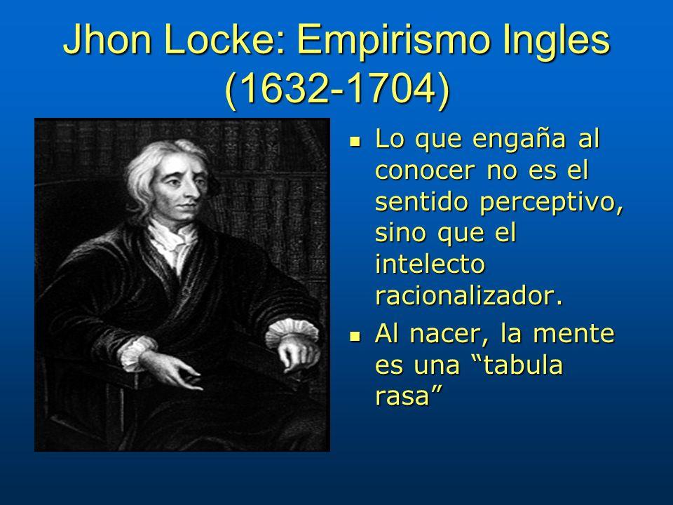 Jhon Locke: Empirismo Ingles (1632-1704) Lo que engaña al conocer no es el sentido perceptivo, sino que el intelecto racionalizador. Lo que engaña al