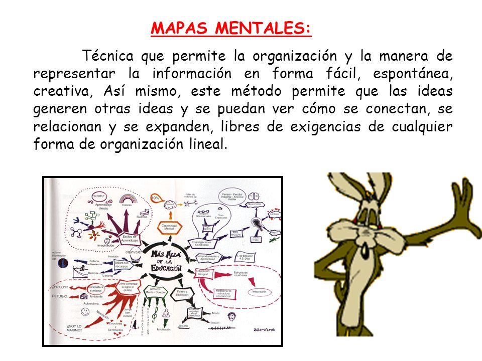 MAPAS MENTALES: Técnica que permite la organización y la manera de representar la información en forma fácil, espontánea, creativa, Así mismo, este mé