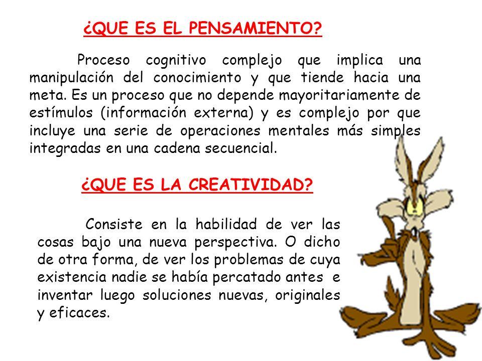 CARACTERISTICAS DE LA CREATIVIDAD Fluidez mental Flexibilidad de pensamiento Capacidad organizativa Resolución de problemas por procedimientos analógicos Amplitud del conocimiento