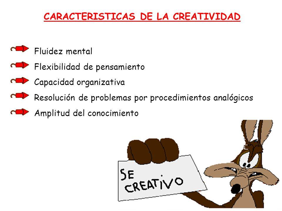 CARACTERISTICAS DE LA CREATIVIDAD Fluidez mental Flexibilidad de pensamiento Capacidad organizativa Resolución de problemas por procedimientos analógi