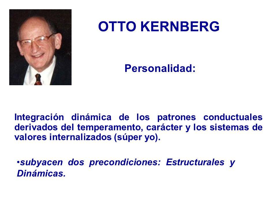 OTTO KERNBERG Integración dinámica de los patrones conductuales derivados del temperamento, carácter y los sistemas de valores internalizados (súper y