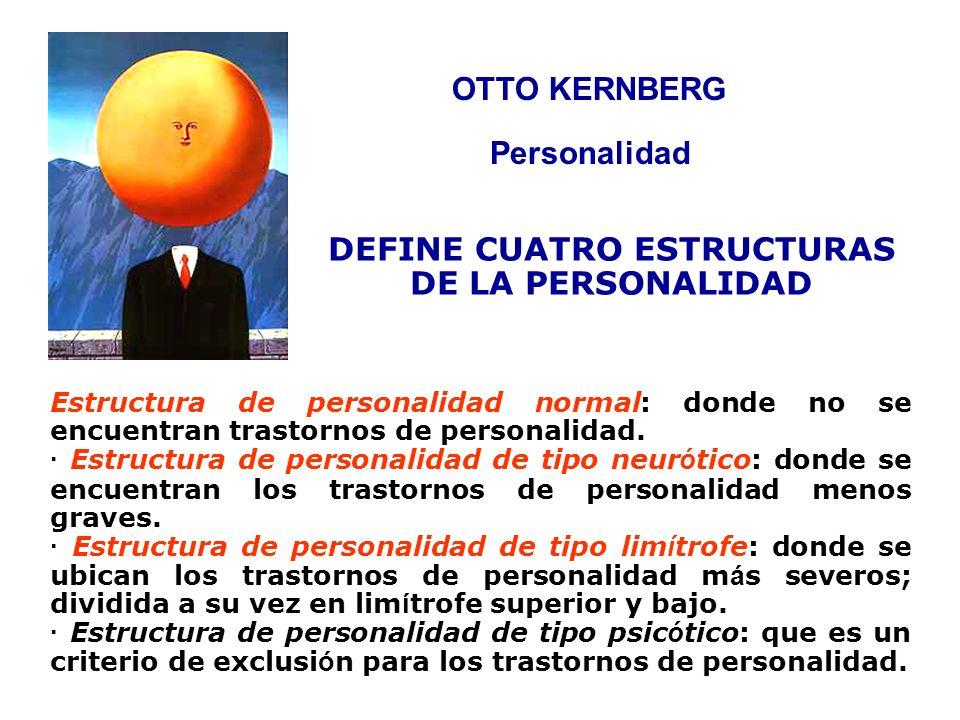 OTTO KERNBERG Estructura de personalidad normal: donde no se encuentran trastornos de personalidad. · Estructura de personalidad de tipo neur ó tico:
