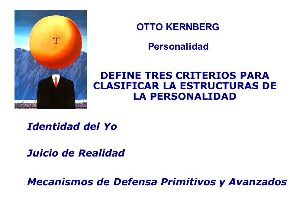 OTTO KERNBERG Personalidad DEFINE TRES CRITERIOS PARA CLASIFICAR LA ESTRUCTURAS DE LA PERSONALIDAD Identidad del Yo Juicio de Realidad Mecanismos de D