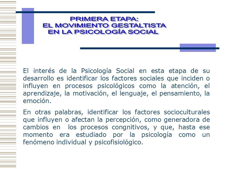 El interés de la Psicología Social en esta etapa de su desarrollo es identificar los factores sociales que inciden o influyen en procesos psicológicos