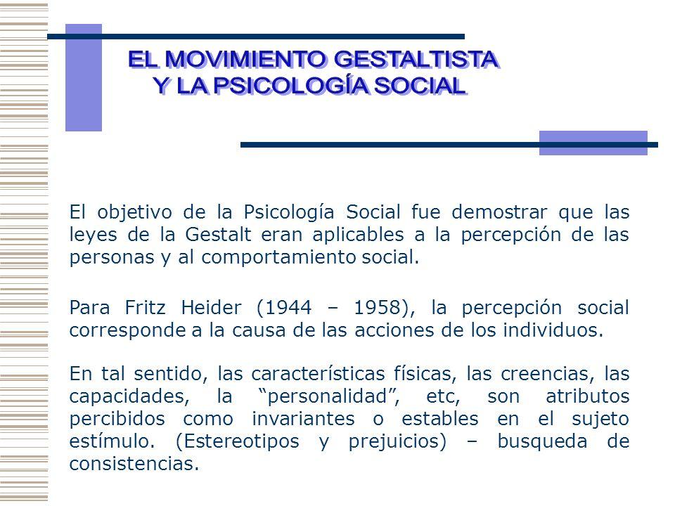 El objetivo de la Psicología Social fue demostrar que las leyes de la Gestalt eran aplicables a la percepción de las personas y al comportamiento soci