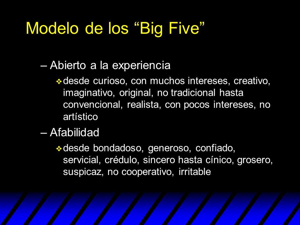 Modelo de los Big Five –Abierto a la experiencia v desde curioso, con muchos intereses, creativo, imaginativo, original, no tradicional hasta convenci