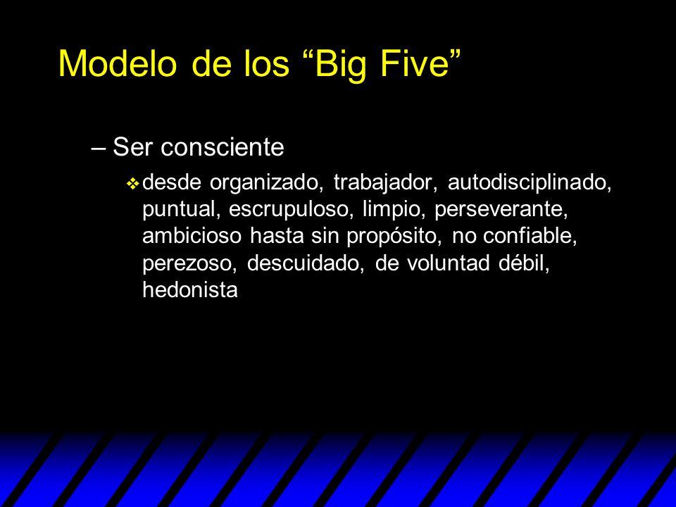 Modelo de los Big Five –Ser consciente v desde organizado, trabajador, autodisciplinado, puntual, escrupuloso, limpio, perseverante, ambicioso hasta s