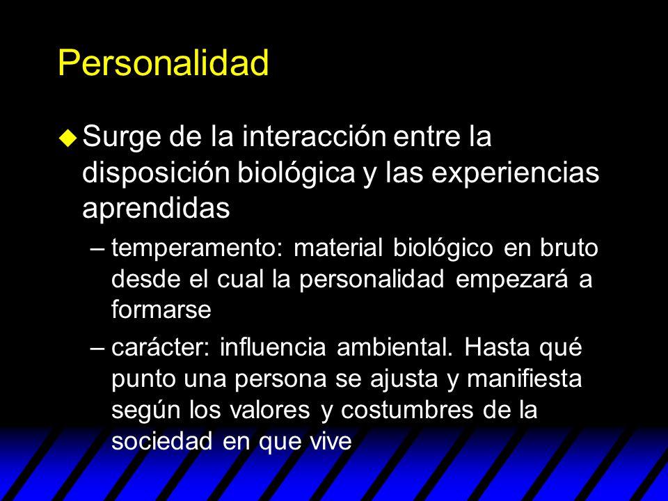 Personalidad u Surge de la interacción entre la disposición biológica y las experiencias aprendidas –temperamento: material biológico en bruto desde e
