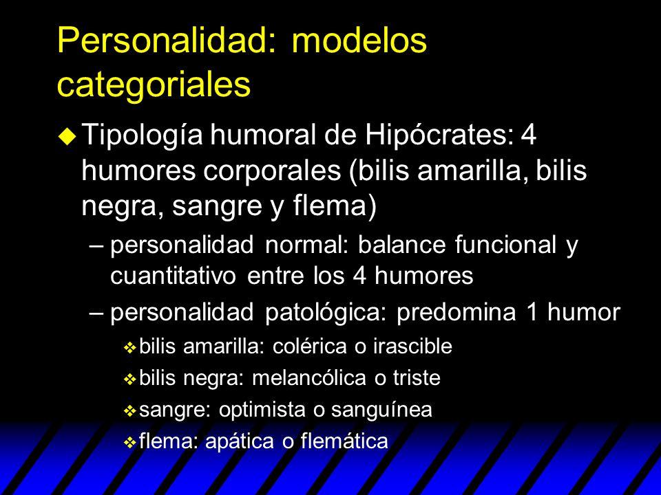 Personalidad: modelos categoriales u Tipología humoral de Hipócrates: 4 humores corporales (bilis amarilla, bilis negra, sangre y flema) –personalidad