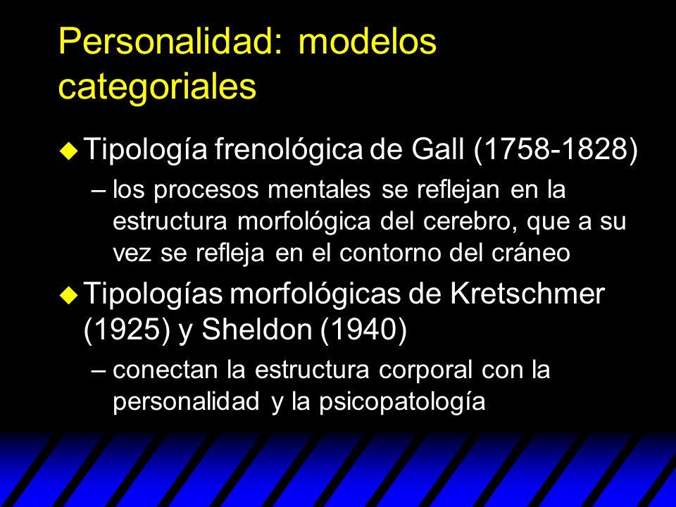 Personalidad: modelos categoriales Somatotipo Físico Personalidad Psicopatología Endomorfo Blando y Viscerotonía: a T.