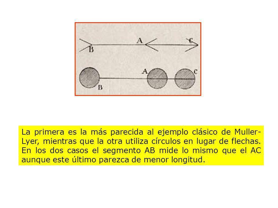 La primera es la más parecida al ejemplo clásico de Muller- Lyer, mientras que la otra utiliza círculos en lugar de flechas. En los dos casos el segme