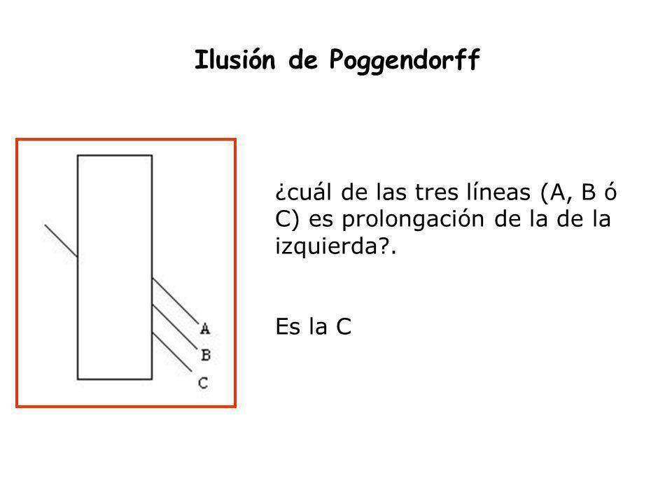 Ilusión de Poggendorff ¿cuál de las tres líneas (A, B ó C) es prolongación de la de la izquierda?. Es la C