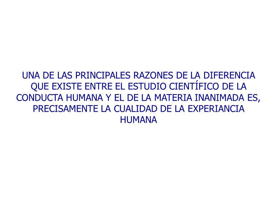UNA DE LAS PRINCIPALES RAZONES DE LA DIFERENCIA QUE EXISTE ENTRE EL ESTUDIO CIENTÍFICO DE LA CONDUCTA HUMANA Y EL DE LA MATERIA INANIMADA ES, PRECISAM