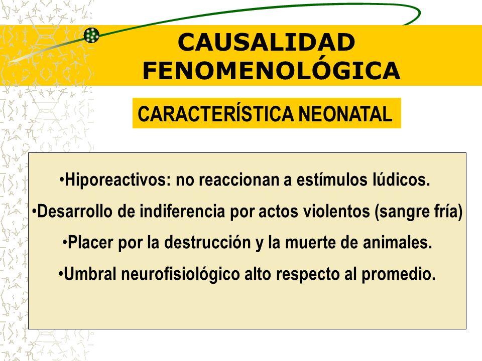 CAUSALIDAD FENOMENOLÓGICA Epidemiología: Proporción de hombre – mujer= 3:1 Historia de abandono y/o abuso sexual por parte de progenitores. Carencia d