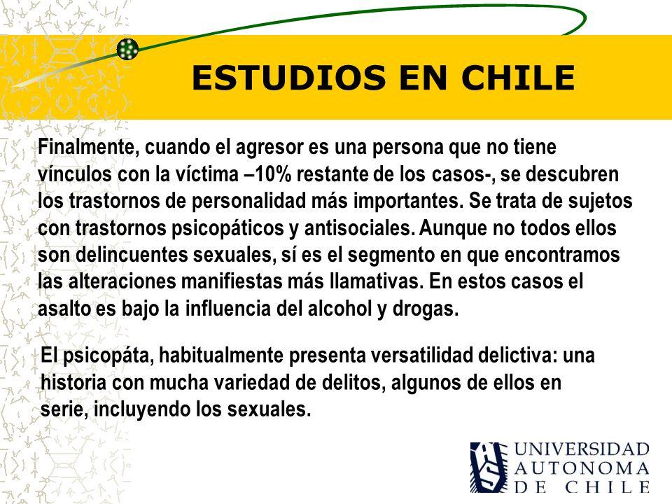 ESTUDIOS EN CHILE Finalmente, cuando el agresor es una persona que no tiene vínculos con la víctima –10% restante de los casos-, se descubren los trastornos de personalidad más importantes.